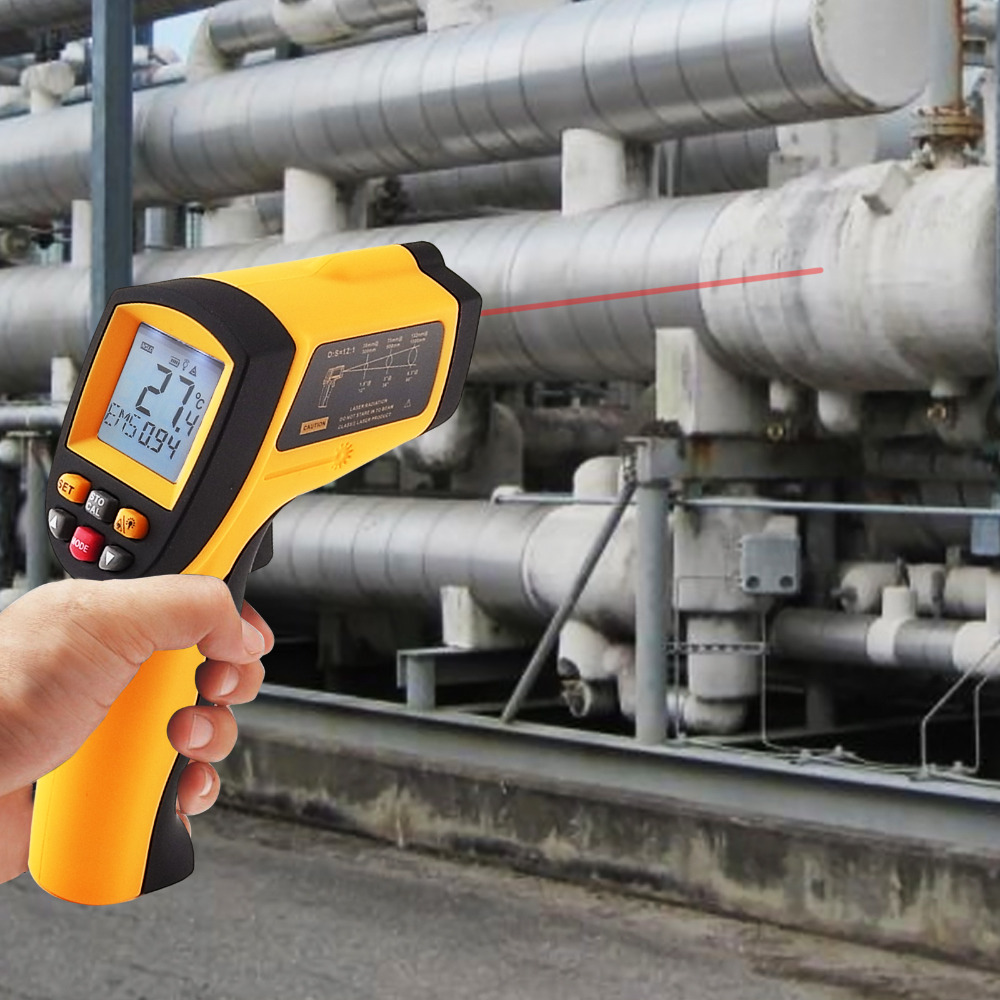 Digital Infrared IR Non-Contact Laser Thermometer 12:1 DS Pyrometer 0.10~0.99 EM -50~900 degree C / -58~1652 degree F Range 0 6 lcd portable non contact infrared thermometer white 50 220°c range