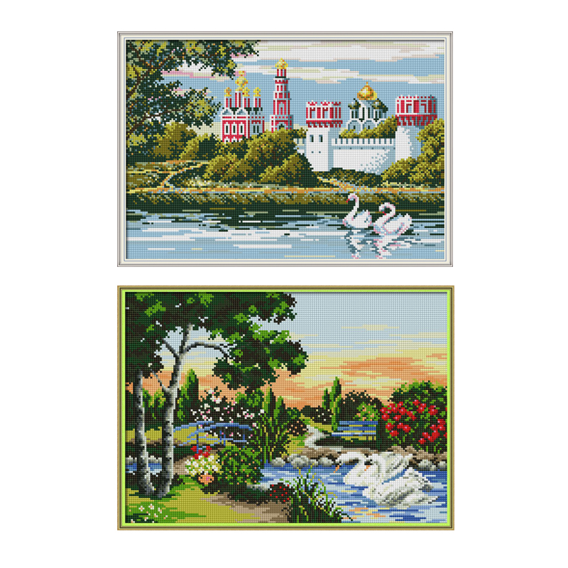 Joy Sunday Swan Lake Diamond Painting Full Square Picture of Rhinestones Easy Whim Diamond Embroidery Icons Mosaic Wall Pictures swan