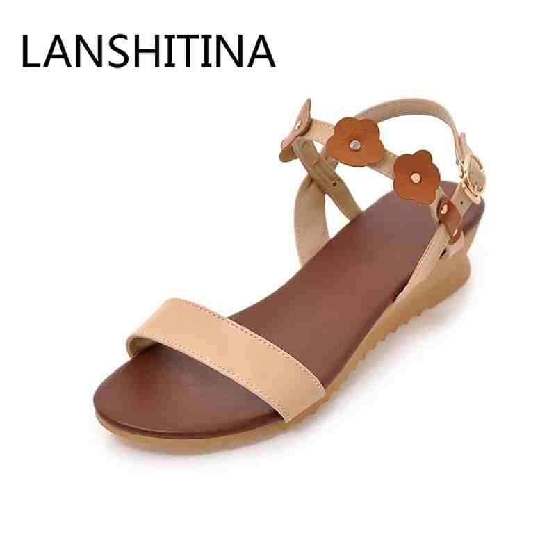 Niskie obcasy sandalen kobieta Buckle Pasek kwiaty buty
