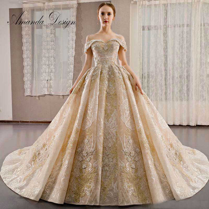 Amanda Design Trouwjurk Cap Sleeve Lace Appliqued Beading Grid Tulle Wedding Dress Wedding Dresses