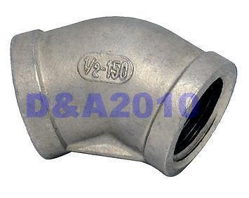 New 45 Degree Elbow 1 Female Fitting 304 Stainless Steel Pipe Biodiesel NPT NEW brand new 3 8 female x 3 8 female elbow 90 degree angled stainless steel ss 304 threaded pipe fittings high quality