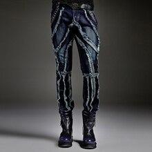 TRUST DREAM Autumn Winter European Men Punk Style Slim Jeans Spliced Man Jeans Street stage Club Fashion Male Jeans