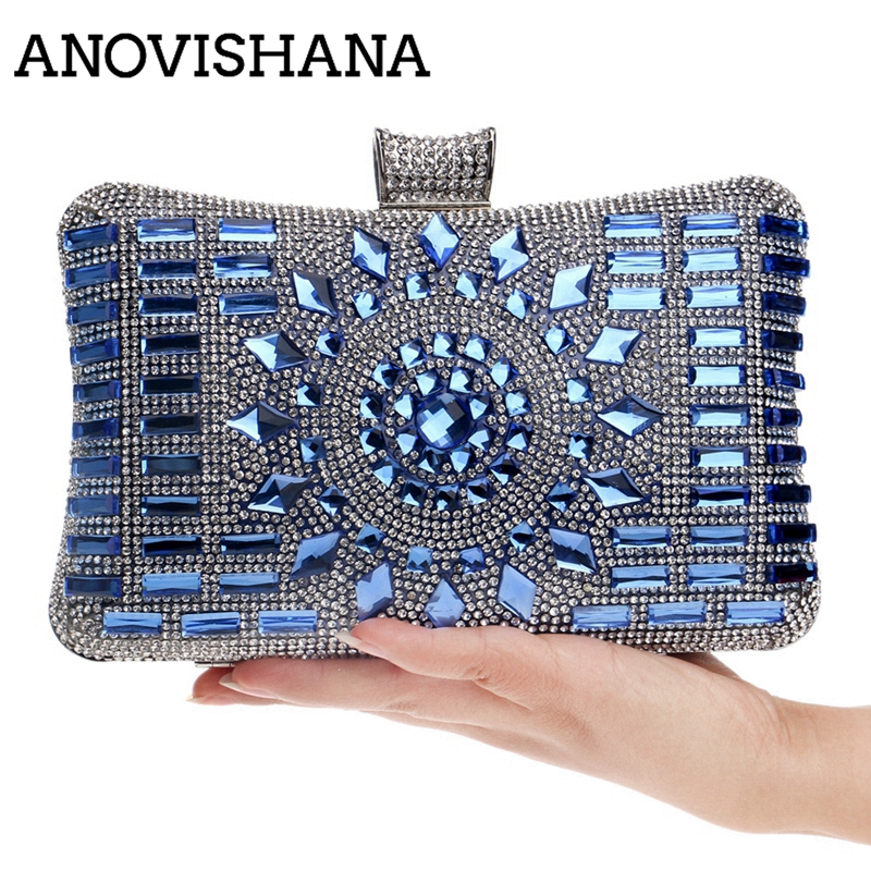 ANOVISHANA Women Evening Bag Diamonds Black Clutchs Ladies Blue Party Shoulder Bag Polyester Pillow Shape Wedding Purses Handbag