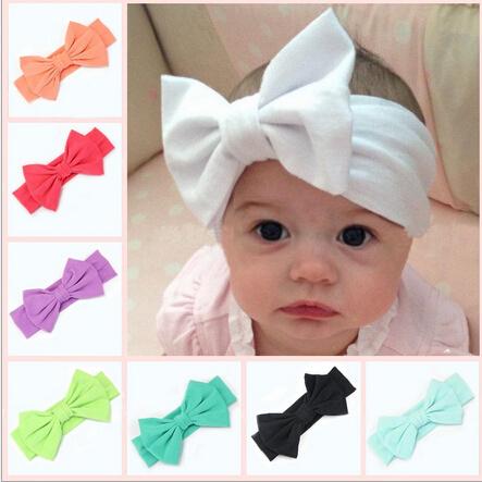 2016 New Cotton Elastic Newborn Baby Girls Solid Color Headband Bowknot Hair Band Children Infant Headband bandeau bebe 6pcs lot 2016 new baby girls elastic headband silky fabric flower head band newborn infant hair band kids baby hair accessories