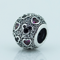 Sterling Silver 925 Fits For Pandora Snake Chain Bracelets Fashion Pave Ball Crystal Beads European Style