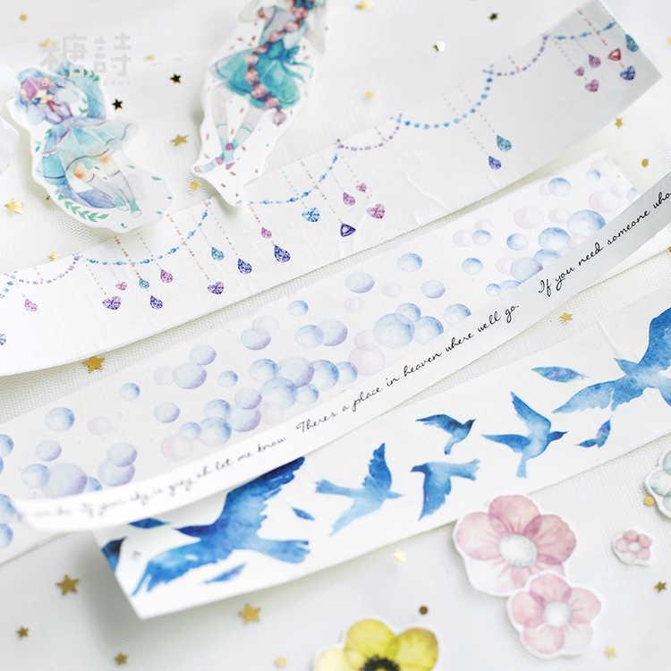 الطيور الزرقاء فقاعة اشي الشريط الزخرفية الحرفية لاصق الشريط لتقوم بها بنفسك سكرابوكينغ بطاقة لاصقة شريطٌ لاصق