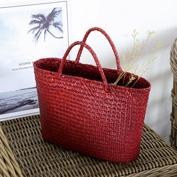 Vintage straw tote bag storage bag woven shopping bag shoulder bag ethnic style woven handbag 1