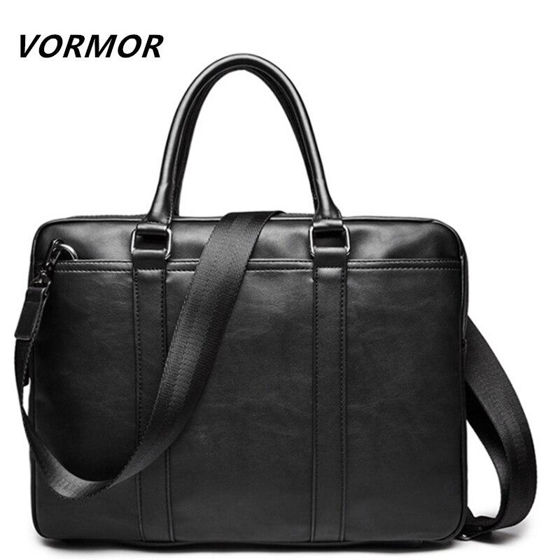 VORMOR Promoção Simples Famosa Marca Homens de Negócios Maleta Bolsa Para Laptop de Couro Homem Bolsa de Ombro bolsa maleta Saco De Luxo
