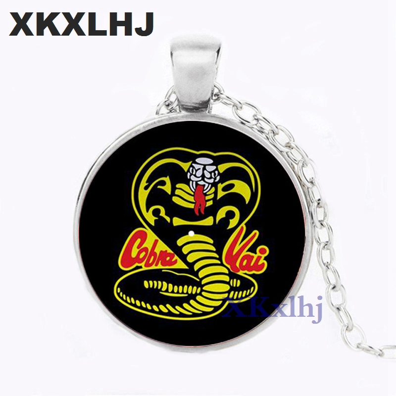 XKXLHJ Hot! Retro Hip Hop Cobra Kai Choker Karate Kid Movie Photo Crystal Glass Cabochon Necklaces Pendants Women Men Jewelry image