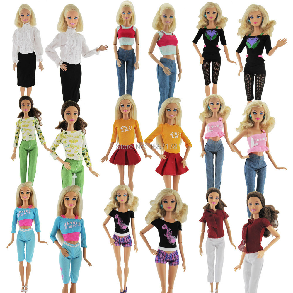 A Lot  = 5 Units Style Woman Outfit Style Put on Shirt Trousers Shorts Pants Skirt Garments For Barbie Doll Randomly Decide