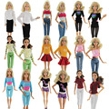 A Lot  = 5 Sets Fashion Lady Outfit Fashion Wear Blouse Trousers Shorts Pants Skirt Clothes For Barbie Doll Randomly Pick
