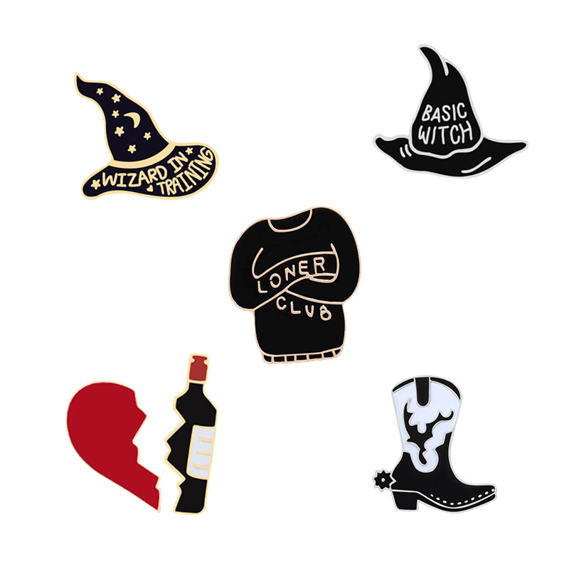 Punk cartoon brooch for woman magician hat broken heart wine bottle  jackets creative Enamel badge men lapel Hijab pins jewelry