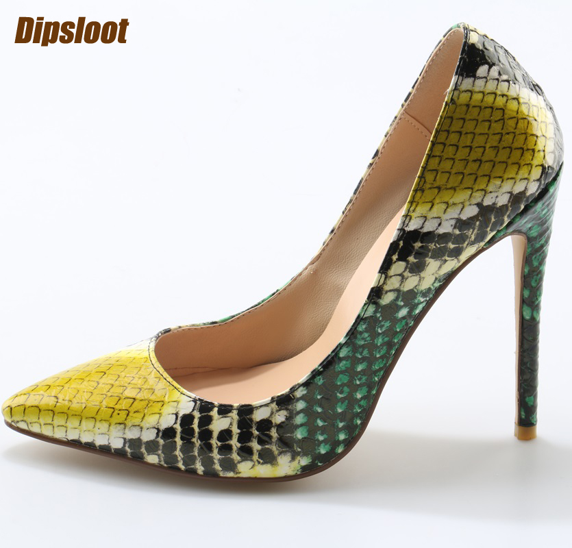 c0f7d491b14 2017 Super Hot Multi Color Python Leather Women Sexy Pointed Toe Pumps Slip  On Ladies Fashion High Heels Party Stiletto Size 41