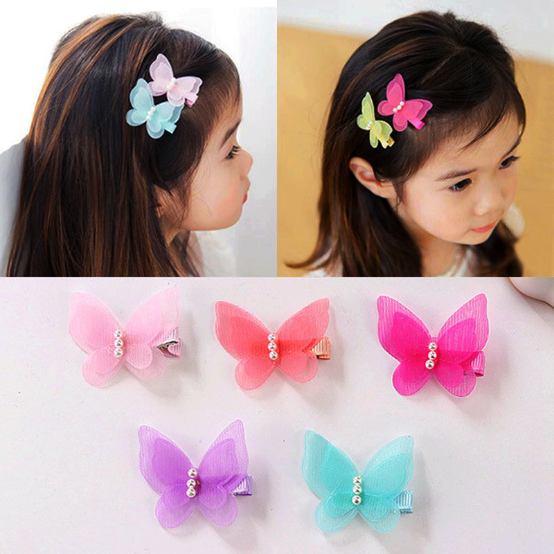 Baby Hairpin Girls Headwear Hair Pins Kids Head Accessories Pearls Mesh Butterfly Clip Children Hair Pin For Toddler Girl Clips