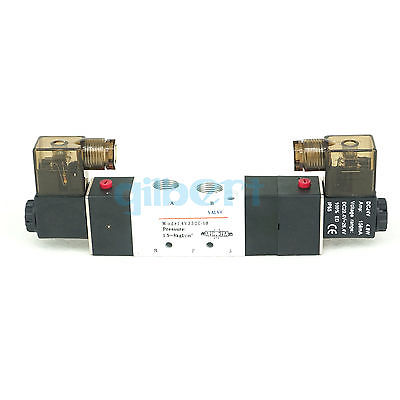 Air Pneumatic Solenoid Valve 3 position 5 way BSPT3/8 Double Head 4V330C-10 5 way air valve 3 8 inch pneumatic gas air control solenoid valves inlet outlet 3 8 4a310 10