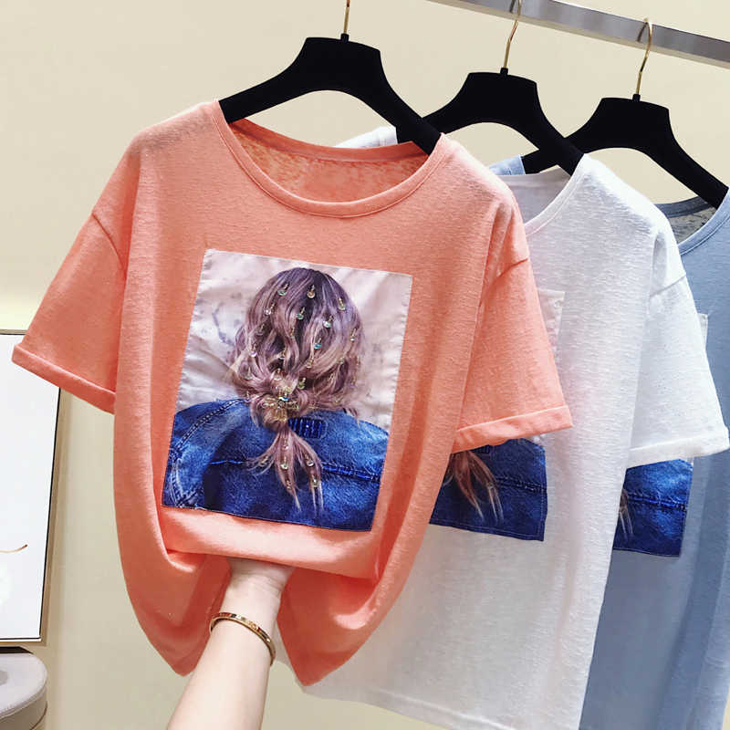 gkfnmt Fashion T-Shirt Female Summer Korean White T shirt Women Clothes Casual Short Sleeve Blue Sequin Tops Tee Shirt New 2019