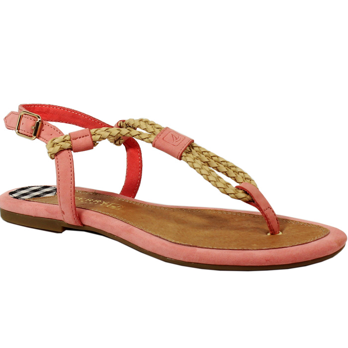 Brand New Sperry 2014 Top Sider Women S Lacie Espadrille Pink Leather Sandal T Strap Woven Flats