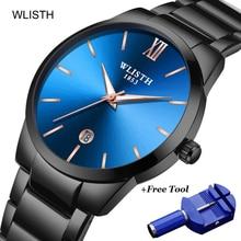 цена Black WLISTH Brand Luxury Watch Men Waterproof Business Stainless Steel Quartz Ultra thin Wrist Male Clock Relogio Masculino онлайн в 2017 году