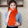 Thicken Women Winter Shawls and Scarves With Pompoms Ms Warm Real Rabbit Fur Scarf Three Colors Knitted Soft Striped WJ011