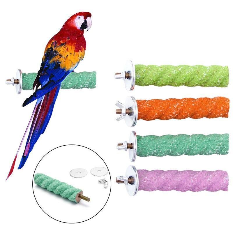 Bird Supplies Drop Ship Parrot Perch Stand Holder Platform Colorful Wood Paw Grinding Bird Parakeet Toys Pet Products