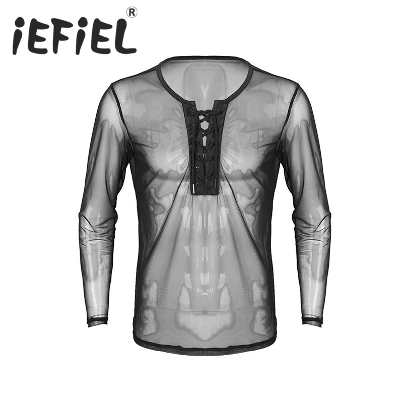 New Arrival Men Male Lace Up See Through Mesh Long Sleeve Pullover T-Shirt Clubwear Nightwear Costumes Undershirts Men's T-Shirt
