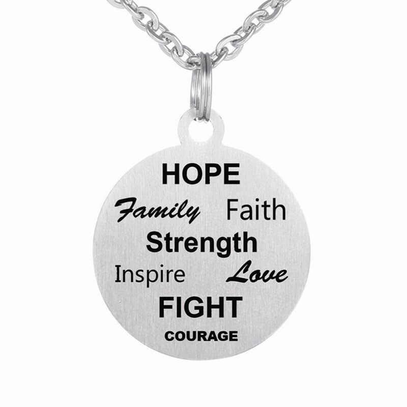 DENGAN rantai Stainless Steel Perhiasan Berharap Keluarga Menginspirasi Cinta Melawan Kekuatan Iman Keberanian Liontin Kalung untuk Pria dan Wanita