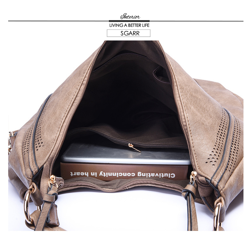 Image 3 - SGARR Fashion Womnen PU Leather Handbags High Quality Large Capacity Ladies Shoulder Bag Casual Vintage Female Hobos Tote Bags-in Shoulder Bags from Luggage & Bags