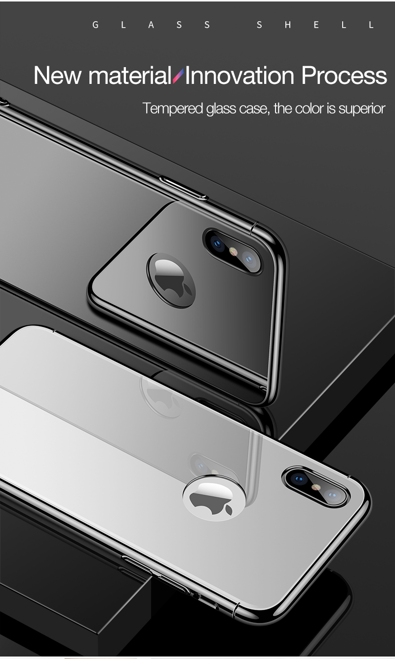 CAFELE Luxury Case For iPhone X 10 plating frame Tempered 3 in 1 Glass Ultra Thin color Glass Back Cover For iPhones X 10 Cases (3)