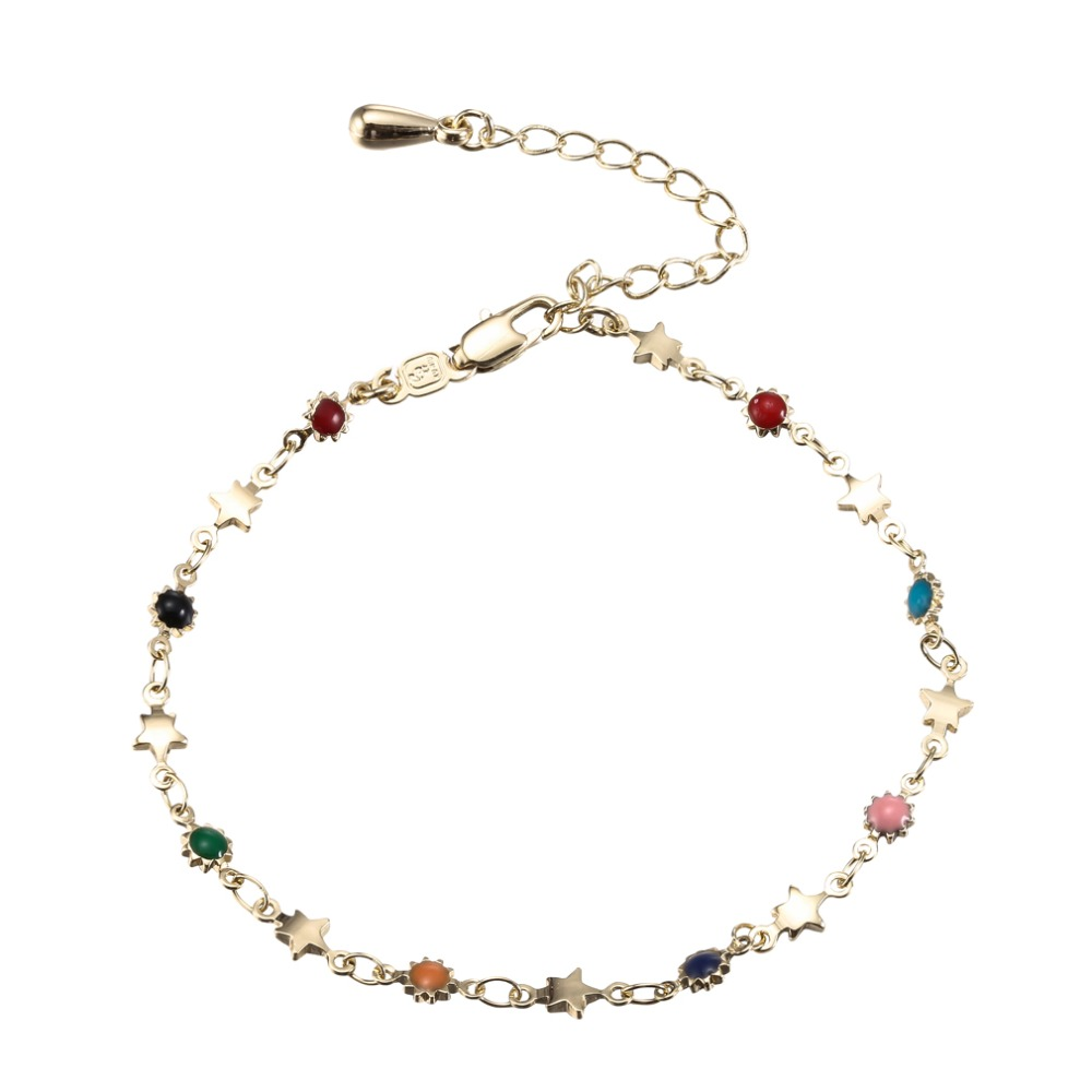 JC Fashion Jewelry Rose Gold//Silvery Bangle Bracelets Star Shape Beaded Pendant Double Chain Anklet