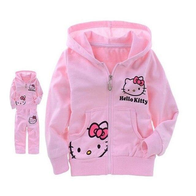Детские Девушки Hello Kitty Комплект Одежды Девушка Весна Верхняя Одежда для Детей Длинным Рукавом С Капюшоном Свитер + Брюки Хлопок Костюм 25C