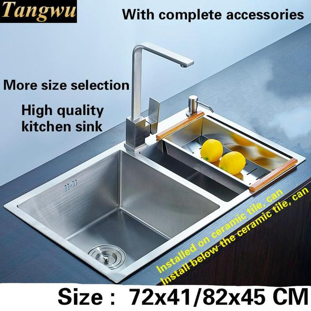 High End Kitchen Sinks Small Round Table And Chairs Free Shipping Sink Manual 304 Food Grade 3 Mm Thick Stainless Steel Double