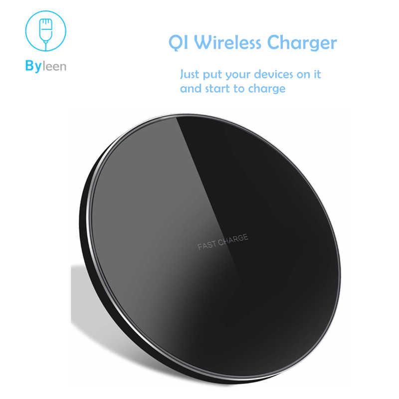 Byleen 10W Putih Hitam Qi Wireless Charger Cepat untuk iPhone X 8 PLUS LG G3 G5 G6 + Yota phone2 Nexus 4 5 6 Galaxy S9 S8 S7 PLUS