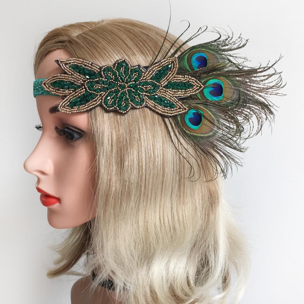 Women Vintage Peacock Feather Green Beads Flapper Headband Roaring 20s Headpiece 1920s Fancy Dress Fascinator Headwear