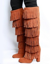 Real Photo Brown Suede Fringe Over The Knee Thigh High Boot Round Toe Square Heels Tassel Women Winter Boots Chunky Heel Shoes jeans denim gladiator fringe blue over the knee high thigh high autumn boots sexy open toe chunky heel women boots
