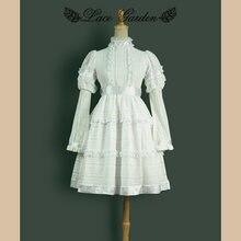 Женское платье с длинным рукавом фонариком белое в английском