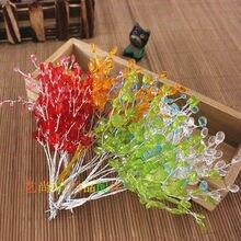 Ensemble de fleurs artificielles en plastique   acrylique, avec tige, Branches en cristal, décoration principale, Livraison gratuite, 50 pièces