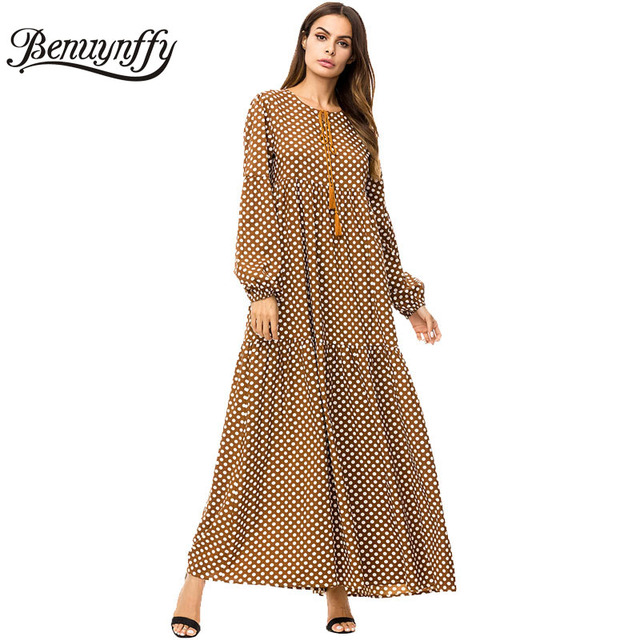 Benuynffy Brown Tassel Tie Big Swing Dresses 2018 Autumn Winter Plus Size  Women Casual O- acceb4bf4a9a
