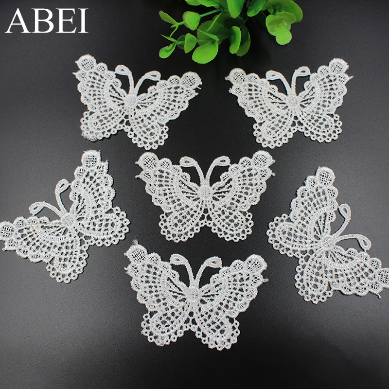10pcs Embroidery White Butterfly