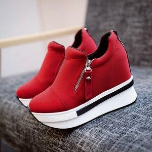Image 3 - CoolCept kobiety buty ze sprężynami kobiety moda buty na koturnach Zip szpilki trampki płytkie obuwie damskie rozmiar 35 40