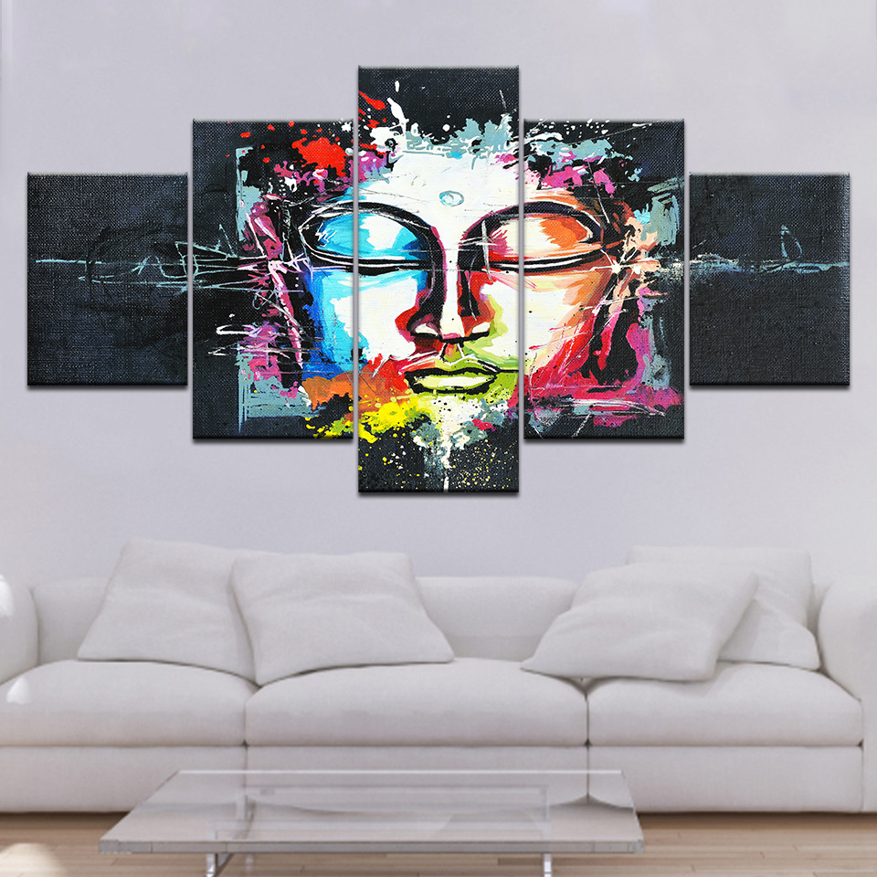 Canvas Paintings Wall Art Home Decor 5 Pieces Buddha Statue Face Pictures HD Prints Poster For Living Room Framework