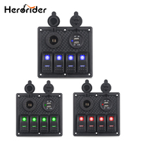 Herorider Boat Rocker Switch Panel Dual USB Charger Cigarette Lighter Socket Car Switch Panel LED Switch USB Marine Switch Panel