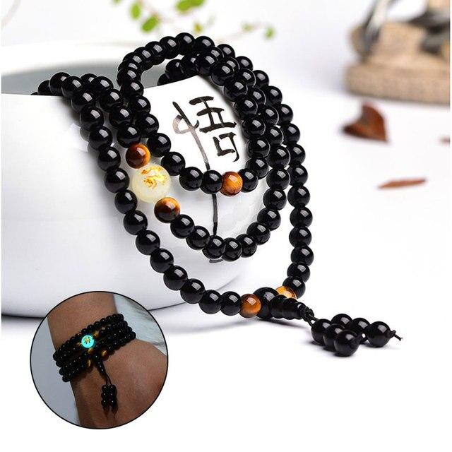 Ethnic Handmade Black Buddha Beads Bangles Bracelets Dragon Ball Bracelet Green Glowing In The Dark
