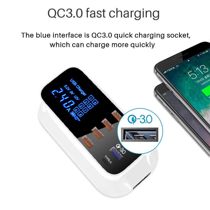 Carga rápida 3.0 carregador usb display led de carregamento rápido telefone tablet tipo c carregador rápido adaptador parede para iphone samsung htc