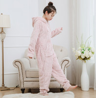 New flannel one piece hooded pajamas cartoon bear thickened coral jumpsuits pink onesies