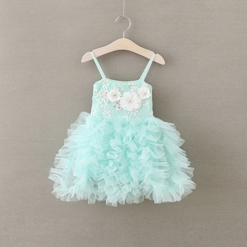EMS DHL Free Summer 2019 New Girls Princess Dress Lace Tiers Layers Suspender Strap Pearls Ruffles