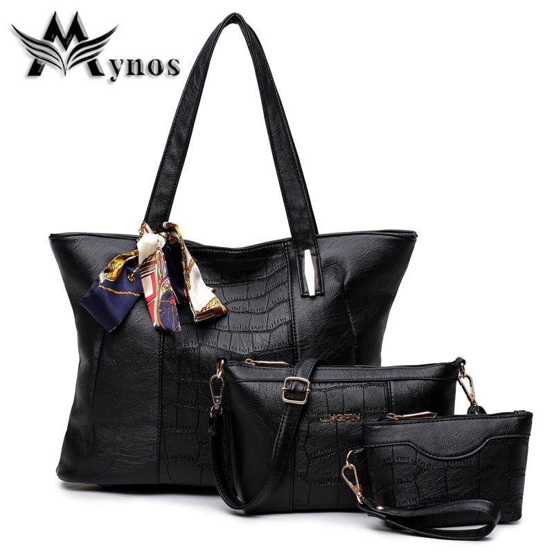 Mynos Brand High Quality Fashion Alligator  Leather Composite Bag For Women Handbag Shoulder Bag Ladies Tote Sac A Main Femme