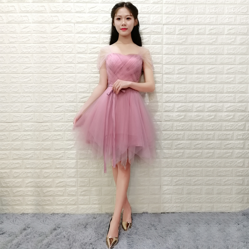 Sexy Elegant Dress Women For Wedding Party Pink Bridesmaid Dress Plus Size Party Dress Criss-Cross Short Ball Gown Elastic Back