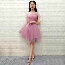 Sexy Elegant Dress Women for Wedding Party Pink Bridesmaid Dress Plus Size Party Dress Criss-Cross Short Ball Gown Elastic Back white suede criss cross back mini slip dress