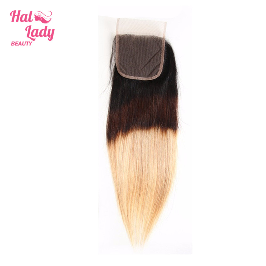 Halo Lady Beauty Three Tone Ombre Hair Closure (4x4) T1B/4/27 Free Part Straight Lace Closure Brazilian Non Remy Human Hair