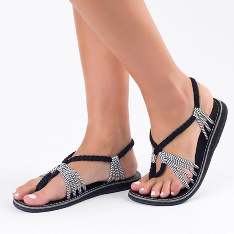Women Sandals 2018 New Summer Shoes For Women Plus Size 35-43 Flat Sandals Female Narrow Band Beach Shoes Ladies Sandalias Mujer instantarts women flats emoji face smile pattern summer air mesh beach flat shoes for youth girls mujer casual light sneakers